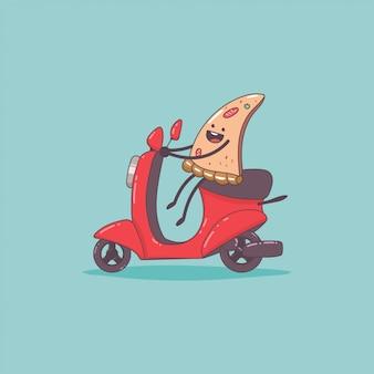 Consegna pizza. simpatico personaggio del corriere alimentare sul ciclomotore. illustrazione sveglia del fumetto di vettore isolata.