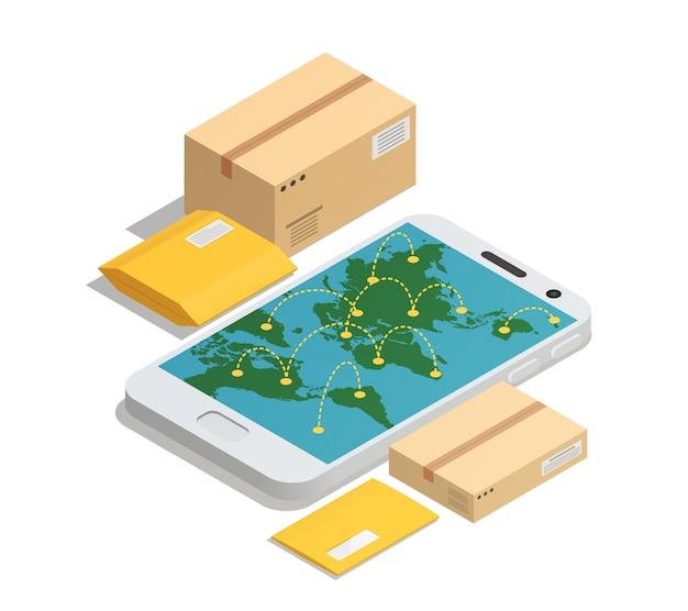 Consegna postale in tutto il mondo isometrica