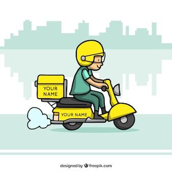 Consegna scooter con stile divertente