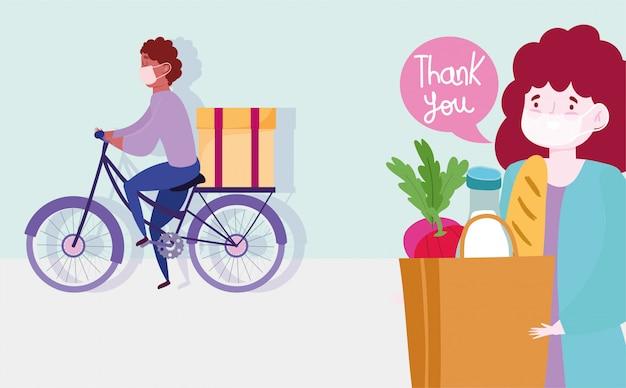 Consegna sicura a casa durante il coronavirus covid-19, corriere uomo in sella a bici con scatola e donna cliente con illustrazione del sacchetto della spesa