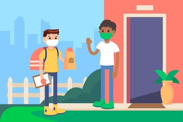 Consegna sicura degli alimenti con persone che indossano maschere