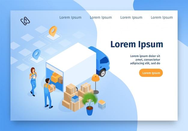 Consegna, sito web di vettore isometrico di servizio in movimento
