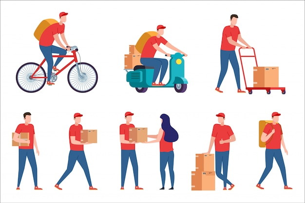 Consegna tramite corriere. servizio di consegna espressa su scooter e bici. postino con ordine di pacchi da casa. il ragazzo del corriere con la scatola della pizza consegna a casa. fattorino con scatola sul retro bianco.