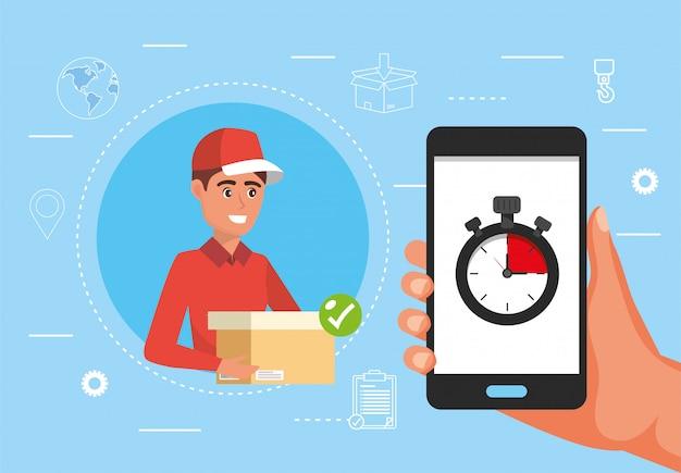 Consegna uomo con pacchetto e mano con smartphone e cronometro