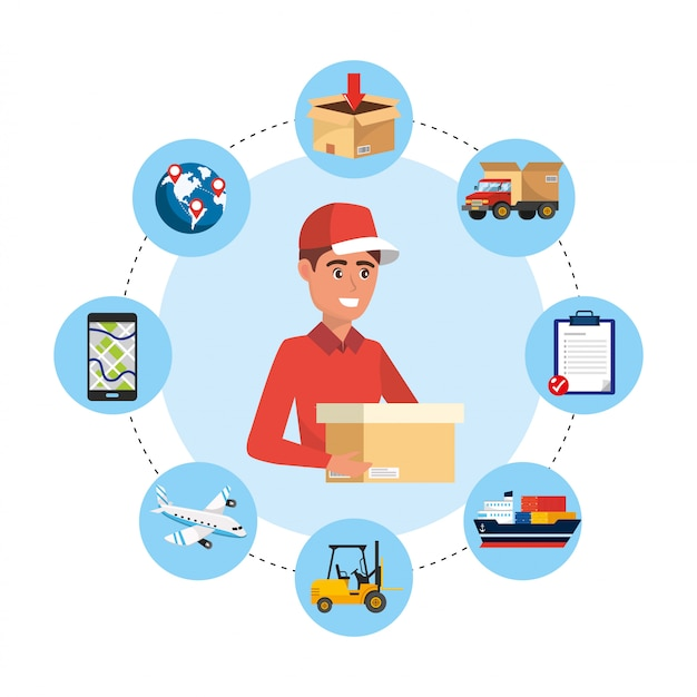 Consegna uomo con scatola e servizio di trasporto