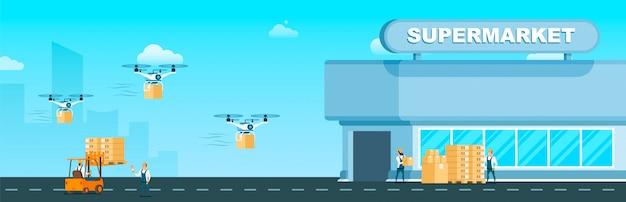 Consegna veloce di drone air flying al supermercato