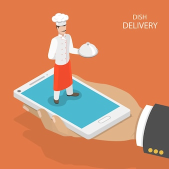 Consegna veloce piatto mobile.