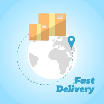 Consegna veloce, simbolo di scatole di cartone