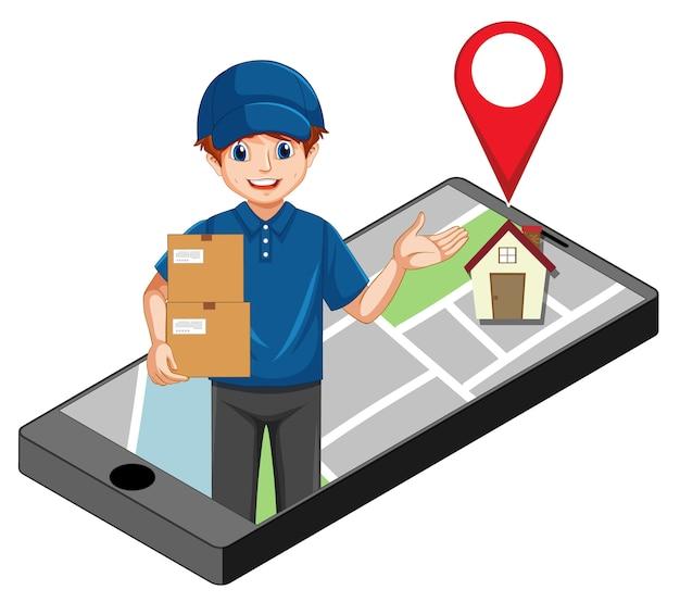 Consegnare o corriere uomo in personaggio dei cartoni animati uniforme blu