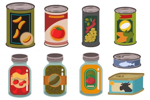 Conserve alimentari in scatola di metallo e barattolo di vetro.