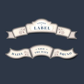 Conservi l'insieme di vettore dell'etichetta dell'invito di nozze dell'annata della data