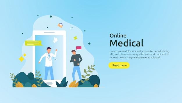 Consiglio di supporto medico online o concetto di servizio di assistenza sanitaria medico con carattere di persone