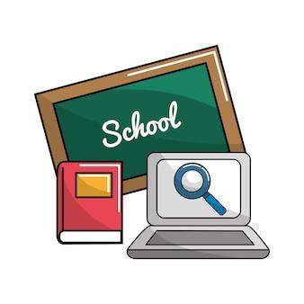 Consiglio scolastico con libri e icona del computer portatile