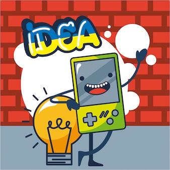 Console giochi e illustrazione lampadina