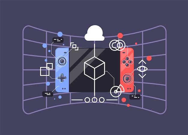 Console per videogiochi. illustrazione vettoriale di gamepad.