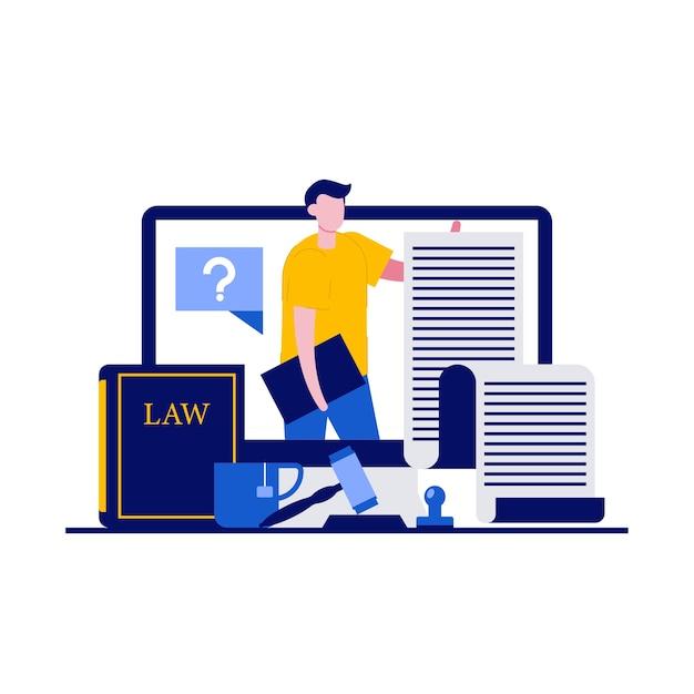 Consulenza legale online, concetto di diritto e giustizia con personaggi. servizio digitale per la consulenza legale.