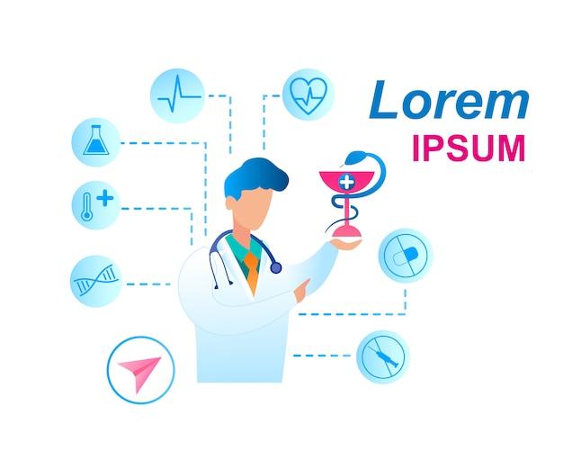 Consultazione del medico di assistenza sanitaria piana dell'illustrazione