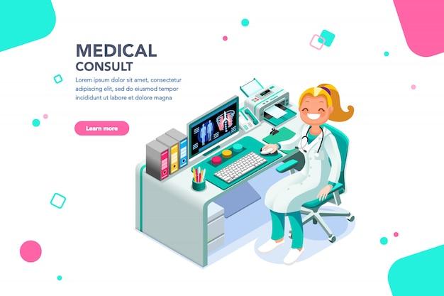 Consultazione medica banner web modello