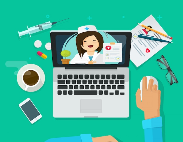 Consultazione online di telemedicina sullo schermo del computer portatile e sul fumetto piano dell'illustrazione della tavola da tavolino