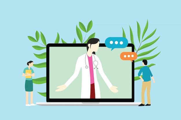 Consultazioni di medico femminile online con medico e paziente