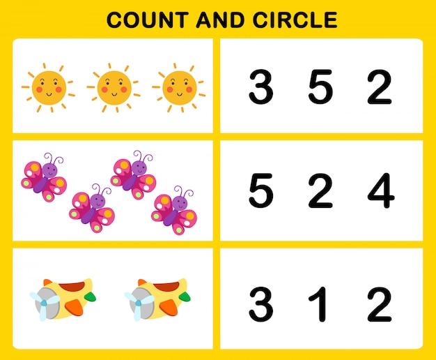 Conta e illustrazione del cerchio