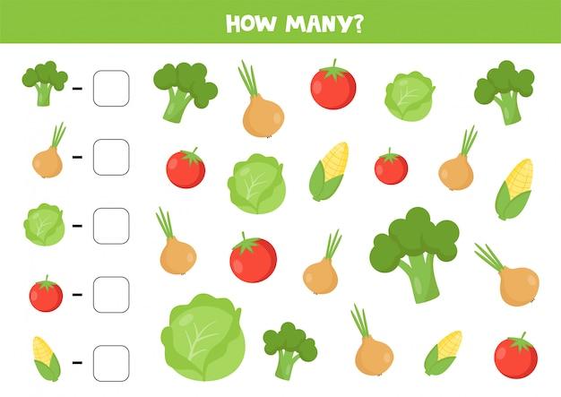 Conta il numero di simpatiche verdure a fumetti.