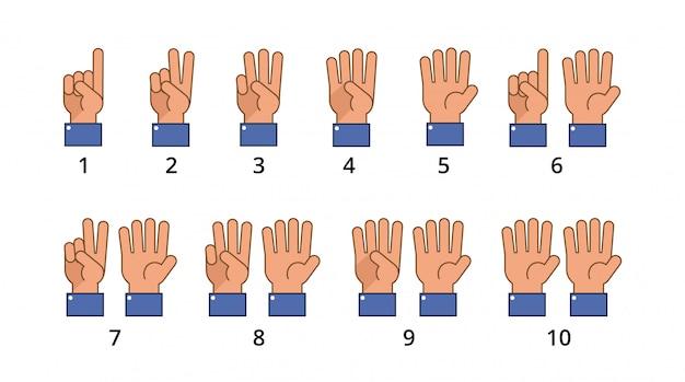 Conta la mano. gesti di conto alla rovescia, segni distintivi di numero di lingua isolati