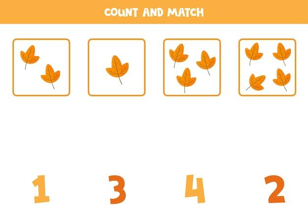 Conta tutte le foglie e abbina i numeri corretti. gioco di matematica educativo per bambini. foglio di lavoro stampabile per bambini in età prescolare.