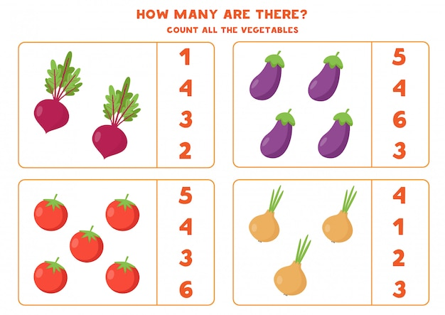 Conta tutte le verdure. barbabietole, pomodori, melanzane e cipolle.