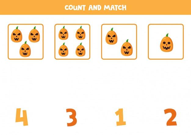 Conta tutte le zucche spettrali e abbina i numeri.