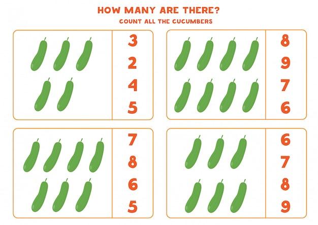 Conta tutti i cetrioli. gioco di matematica con verdure.