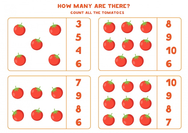 Conta tutti i pomodori rossi e trova la risposta giusta.