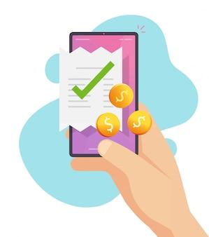 Contabilità di fatturazione della ricevuta del telefono cellulare con soldi