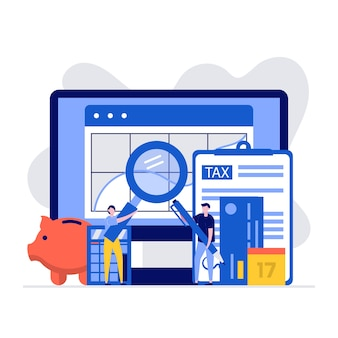 Contabilità e concetto di gestione finanziaria con carattere e documenti per il calcolo delle imposte.