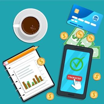 Contabilità, pagamento online, smartphone piatto, pulsante di trasferimento