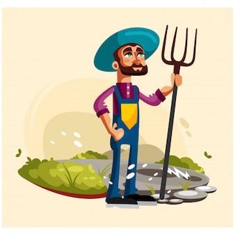 Contadini contadini sono in posa in campi con grandi personaggi dei cartoni animati forche