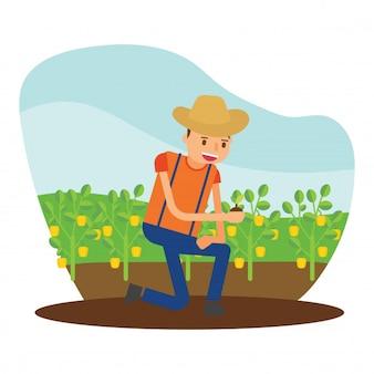 Contadino agricoltori agricoltori agricoltori raccogliere paprica carattere cartone animato