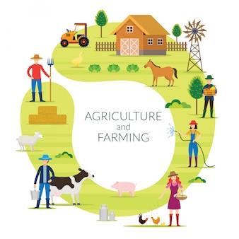 Contadino, agricoltura e concetto di agricoltura cornice rotonda, coltivare, campagna, campo, rurale, persone