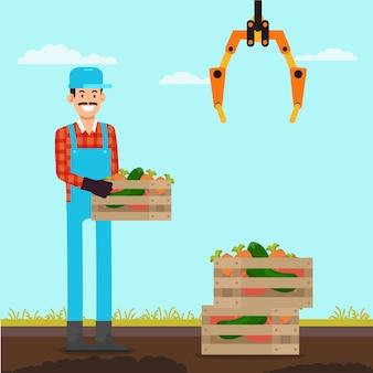 Contadino con scatole di verdure in area di carico.