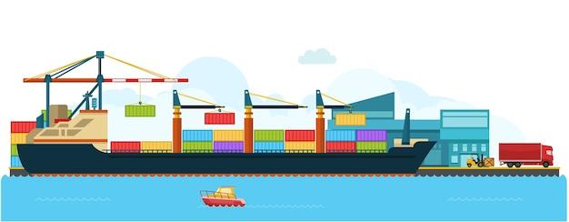 Container cargo ship ship in shipyard