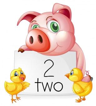 Contando il numero due con maiale e pulcini