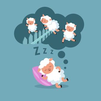 Contando le pecore per dormire la notte. agnello di salto all'illustrazione di vettore del fumetto di sogno felice