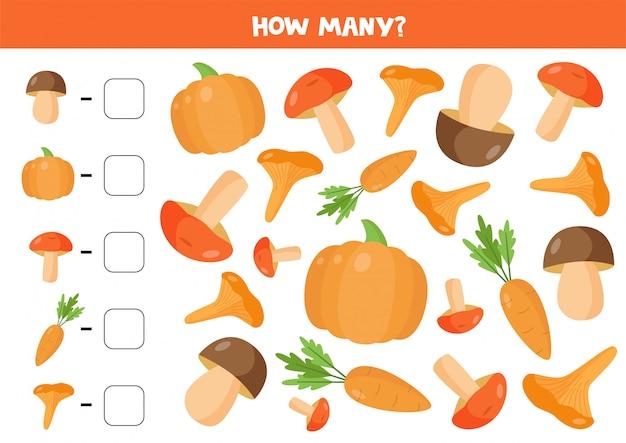 Contare funghi e verdure. gioco di matematica per bambini.