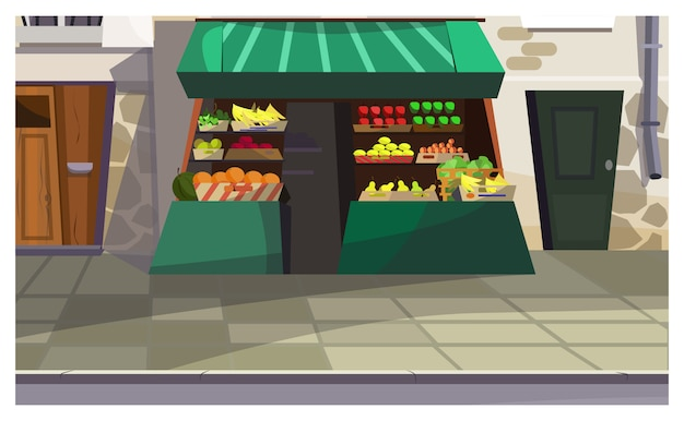 Contatore di frutta all'aperto sull'illustrazione della via