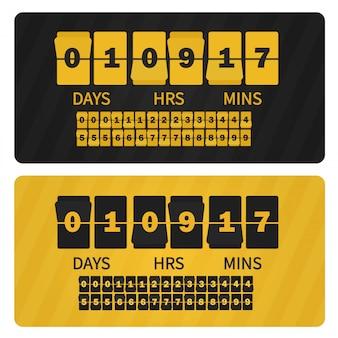 Contatore di numeri nero giallo, tutte le cifre con le lancette incluse. scheda cifre orologio conto alla rovescia.