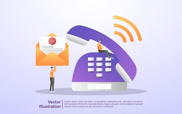 Contattaci concept. assistenza clienti 24/7, supporto online, help desk