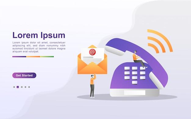 Contattaci concept. assistenza clienti 24 ore su 24, 7 giorni su 7, supporto online, help desk.