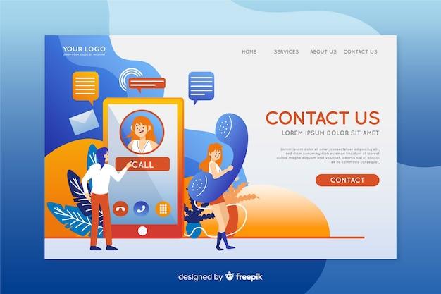 Contattaci design piatto modello di pagina di destinazione