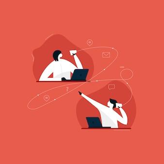 Contattaci illustrazione, call center e supporto helpline