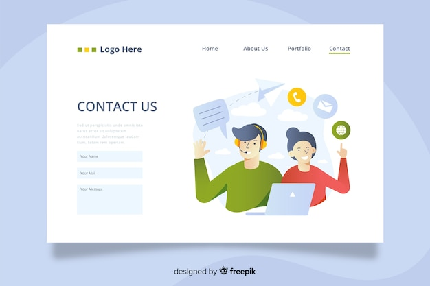Contattaci landing page con operatori che offrono servizi